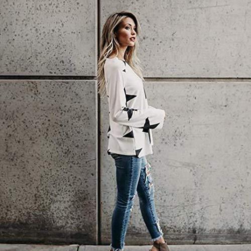 Lunghe Rotondo A di Camicia Lunghe Shirt Autunno White Maniche Stampato Collo Cuore Camicetta Base Eleganti Grazioso Donna B BIRAN Primaverile Tshirts Maniche Fashion Casuale Donne Modello aqt5xwq