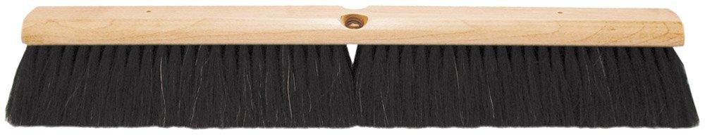 PFERD 89214 Maintenance Lacquered Hardwood Block Fine Floor Sweep Broom, Horsehair/Nylon Mix Bristles, 18'' Length, 3'' Trim Length