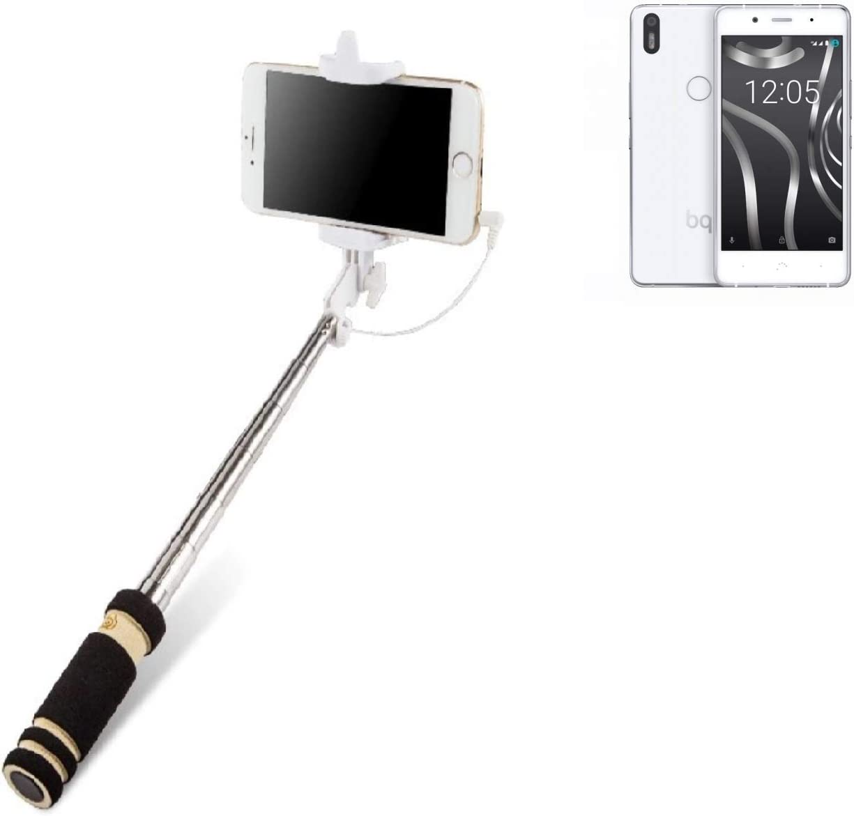 K-S-Trade Selfie Stick Palillo para BQ Aquaris X5 Plus, Negro ...
