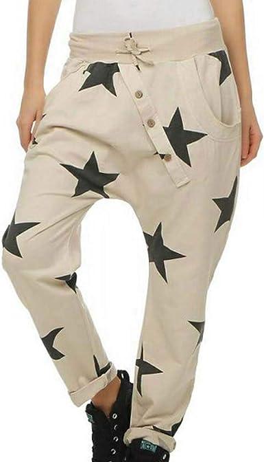 Huateng Pantalones de chándal para Mujer Cintura Media ...
