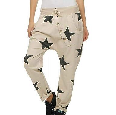 Huateng Pantalones de chándal para Mujer Cintura Media Pantalones ...