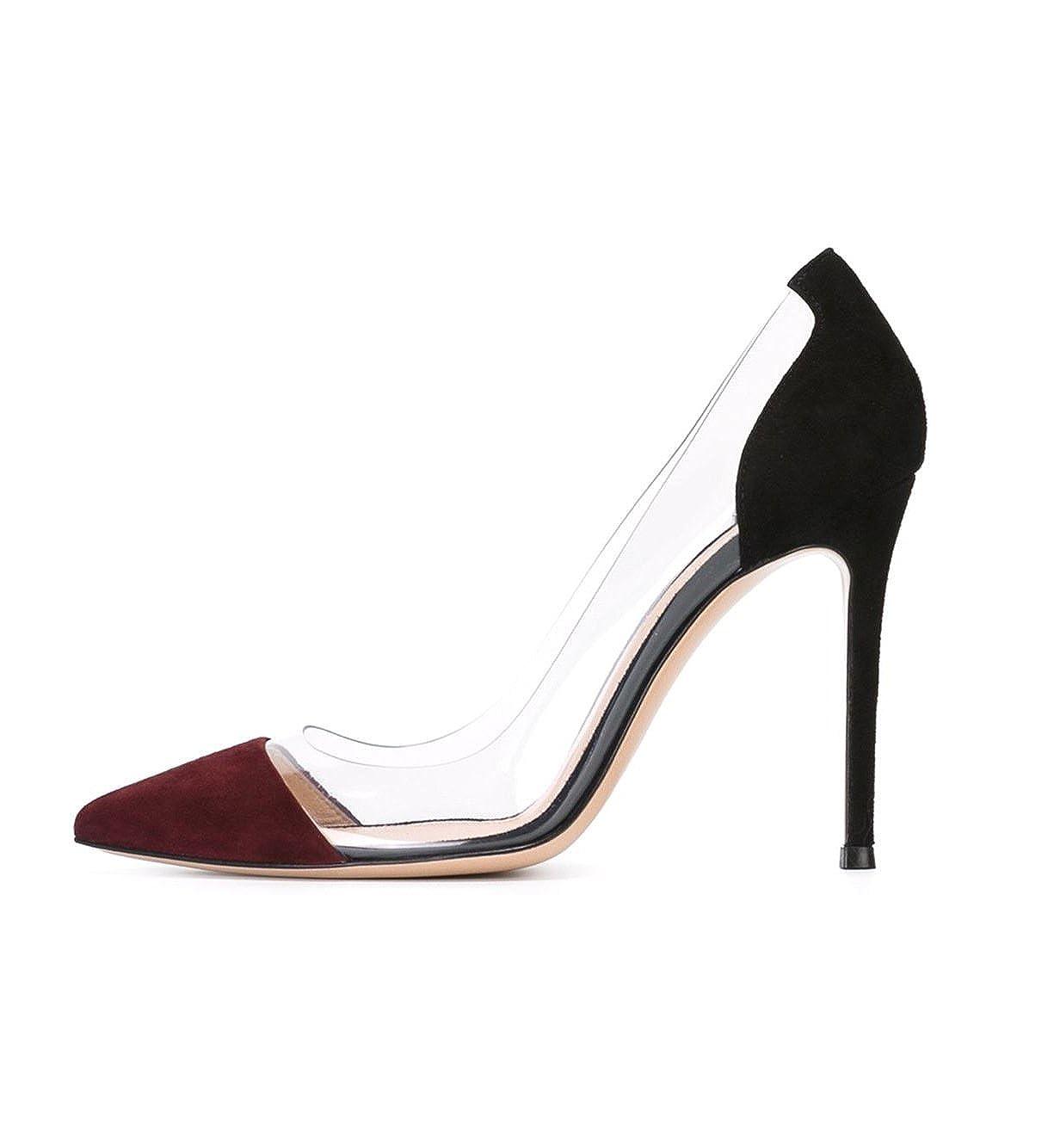 DYF Frauen nackt Scharfe feine Schuhe High Heel Transparent Transparent Transparent Office, 10 cm, Wein Rot + Schwarz, 42  - 5758ce