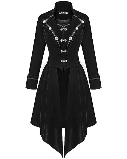 sélection premium cf31a 753b4 Dark In Love Femmes Gothique Militaire Manteau Velours Noir ...