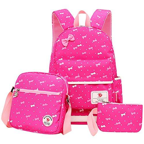 Polka Dot 3pcs Kids Book Bag Cute School Backpack Handbag Purse Water Repellent Girls Teen (D-Rose)