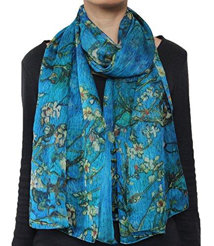 - Seamaidmm Van Gogh Almond Blossom Print Chiffon Scarf Blue