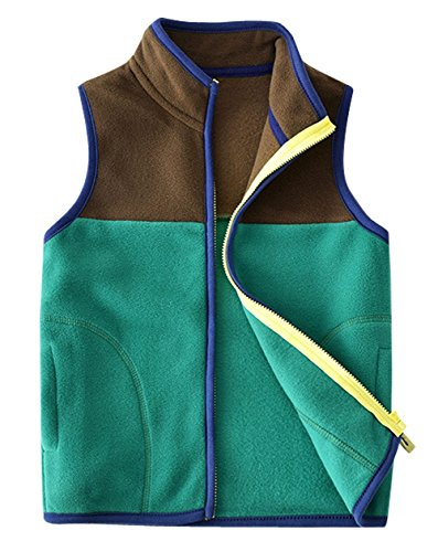 Happy Cherry Toddler Boys Winter Vest High Neck Slant Pocket Zipper Up Casual Outdoor Sports Splice Waistcoat 4-5T Green