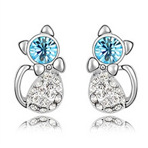 Gold Plated Adorable Cat Stud Earring For Girls,Teens,Women -EGW156 (Blue)