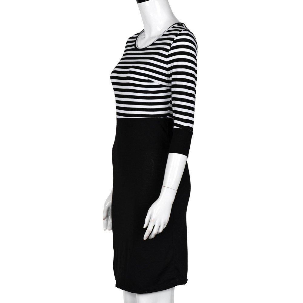 Morwind vestido a rayas, largo por las rodillas rayas negro/blanco vestido bustier Vestido con manga 3/4 cuello redondo vestidos tallas grandes: Amazon.es: ...