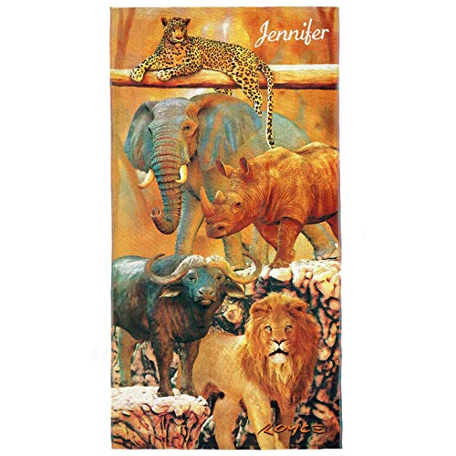 Kaufman- Personalized Kids Safari Animals Printed Beach and Pool Towel 30''X60'' Custom Embroidered Soft Absorbent and Dry Fast 100% Cotton(106059) (Bath Safari Towels)