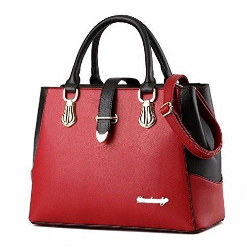 Handbag Casual Semplici Red Tracolla Grande Capienza Borse Donna Pu Impermeabili rwqvrZ