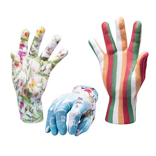 - Breathable Thin Lightweight Nylon Work Gloves for Women Men with Grip, Pack of 3 (SET12)