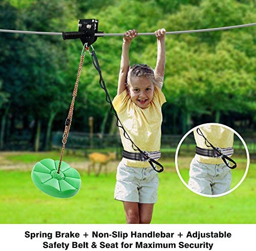 98 Feet Zip Line Kit for Kids and Adult Up to 330 lb with Zipline Spring Brake and Safety Harness, Zip line Trolley with Handle and Thickened Seat,for Backyard Playground Entertainment