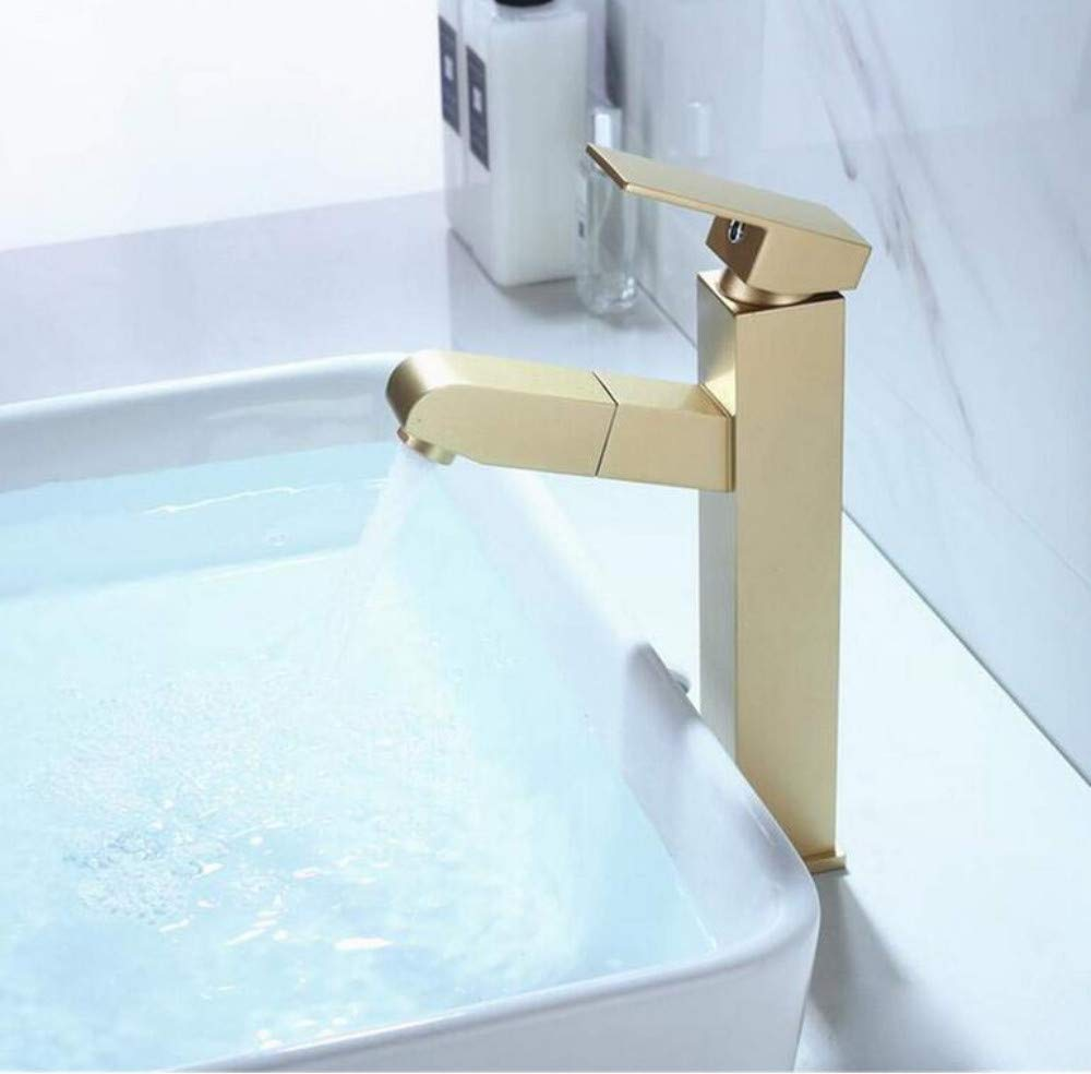 Brass Chrome Modern Hot and Cold Water Kitchen Mixer Brass Bathroom Sink Faucet Pull Out Basin Faucet Cold and Hot Water Mixer Tap