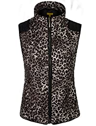 BOHENY Womens Quilted Fully Lined Leopard Vest with Detachable Hoodie-L-LEOPARD_BROWN