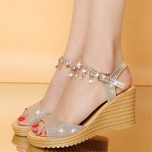 OHQ Redonda Sandalias Sandalias la Las de la Mujeres de de Hebilla Mujer de para Hebilla Plataforma Zapatos cuña la de Zapatos cuña Las de de Sandalias Sandalias de Mujeres Punta Oro de 8H8qr7