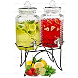 Double Cold Beverage Dispensers - Two 1 Gallon Hammered Glass Pitchers on 1 Metal Stand - Elegant Party Buffet Centerpiece for Iced Tea, Lemonade and Punch Drinks - by Lux 'n Lavish