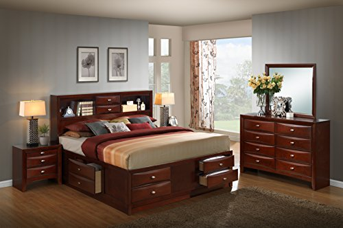 Finish Merlot Dresser Mirror (Roundhill Furniture Emily 111 Wood Storage Bed Group with King Bed, Dresser, Mirror and 2 Night Stands, Merlot)