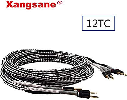 4.9Ft // 1.5m xangsane 12TC Single Crystal Copper Audio Speaker Cable HiFi Amplifier Speaker Cable with Banana Plugs