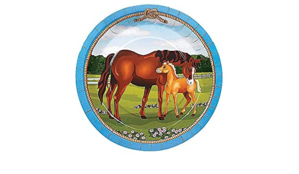 Amazon.com: 8 Large Mare and Foal Horse Paper Party Plates   Horse ...