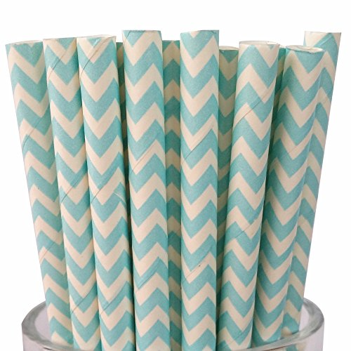 MY PAPER Decorative Paper Straws Gold Pink Blue Grey Red Black Yellow Teal Mint Chevron Pattern 7.75 Inch 25 PCS For Christmas Party (Pale Blue) - Pale Straw