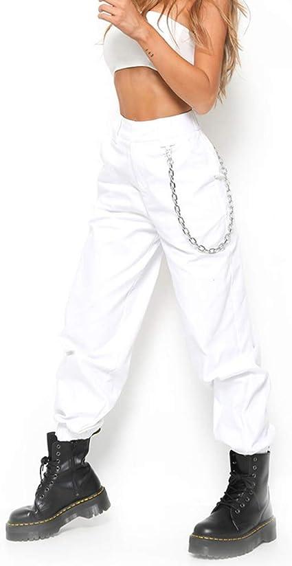 Dayuandian Pantalones De Cadena Para Mujer Con Bolsillos De Cadena Cintura Alta Estilo Haren Para Mujeres Adolescentes Y Ninas Amazon Com Mx Ropa Zapatos Y Accesorios