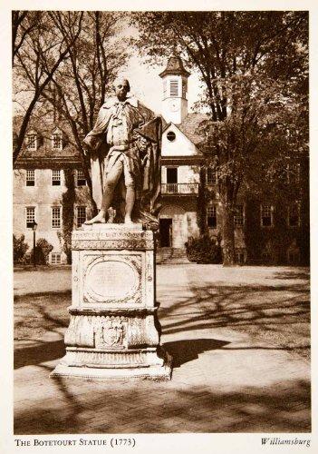 1947 Photogravure Governor Botetourt Statue College William Mary Wren Building - Original Photogravure (Wren Building)