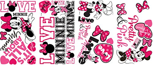 Roommates Rmk2180Scs  Mickey And Friends - Minnie Loves Pink Peel And Stick Wall Decals, 28 count