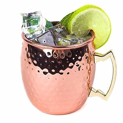 elegantstunning Solide Kupfer Moscow Mule Tassen, 18 Unzen ungefü tterte Becher, Trinkbecher perfekt fü r Cocktails Eistee und Bier