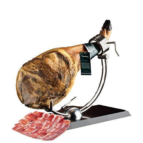 Iberico Ham de Bellota Leg Cured for 24 Months, Between 20-25 Servings, 10-12 lbs from Fermin Plus Ham Holder and Iberico Ham Knife