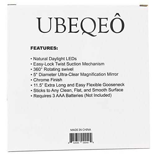 UBEQEÔ 7X or 10X Magnifying Makeup Mirror With Light | Adjustable Gooseneck Suction Cup | The Bathroom Vanity with Lights has a Bright LEDs perfect for Wall Mounted (10X Magnification) by UBEQEÔ (Image #3)