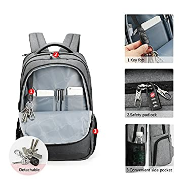 TIGERNU Anti Theft Laptop Backpack with USB Charging Port, Business Travel Slim Computer Bag for Men Women, Water Resistant College School Bookbag Fits Laptops and Notebook Under 15.6 Inch, Grey
