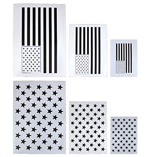 g 50 Stars 2 in 1 USA Flag Stencil Template for Painting on Fabric, Paper, Wood, Wall, Multiple Use ()