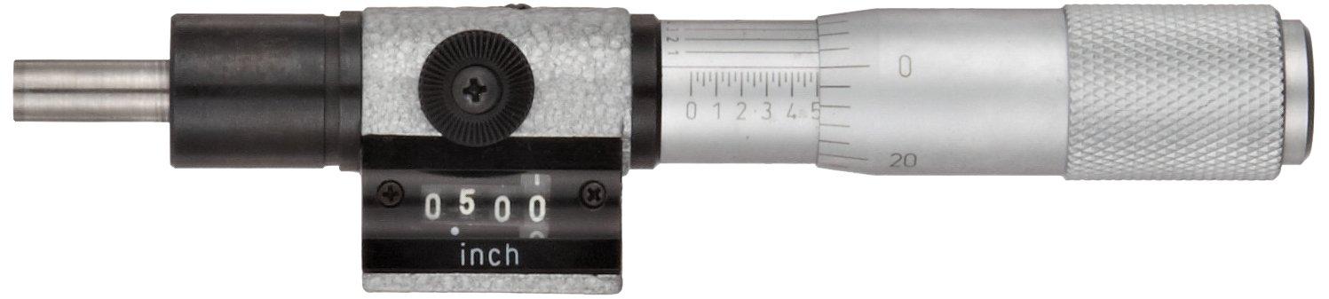 Fowler 52-222-222-1 Digit Micrometer Head, 0-1'' Measuring Range, 0.0001'' Graduation, 5.25'' Overall Length