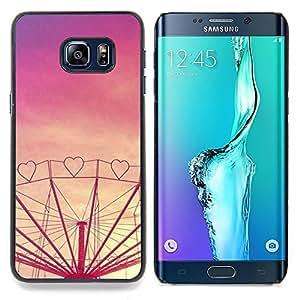 """For Samsung Galaxy S6 Edge Plus / S6 Edge+ G928 Case , Corazón púrpura del amor Sunset Feria de atracciones"""" - Diseño Patrón Teléfono Caso Cubierta Case Bumper Duro Protección Case Cover Funda"""