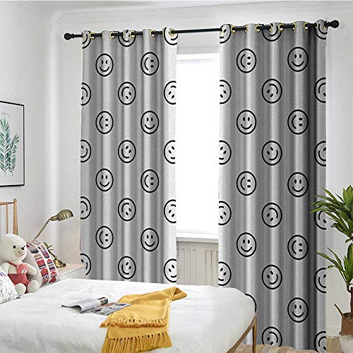 TRTK Bedroom Curtains Blackout Curtains Living Room Dining Children's Youth Curtains Emoji,Smiling Expression Line Icon Pattern in Black and White Happy Mood Positive Vibes Black White ()