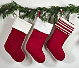 """Fennco Styles Cable Knit Classic Striped Design Holiday Christmas Stocking - 8.5""""x19"""" - 3 Styles (#1)"""