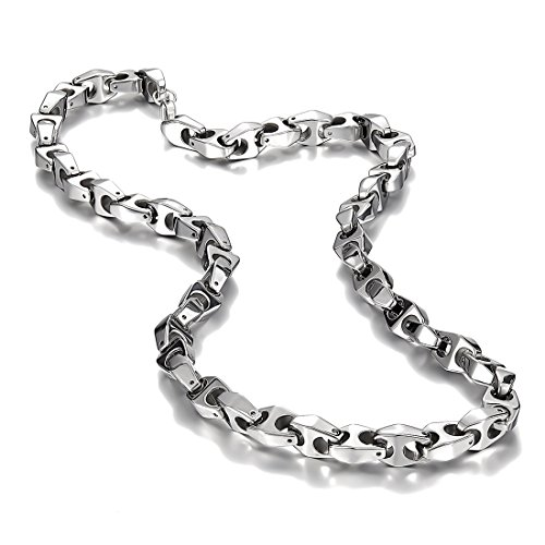 (Urban Jewelry Unique Astro Snake 22 Inches Men's Silver Toned Tungsten Link Necklace Chain (Heavy,)