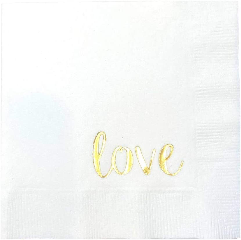Sprinkles & Confetti Wedding Cocktail Napkins | Love Napkins for Entertaining and Parties | Gold Love Script Beverage Napkin | White