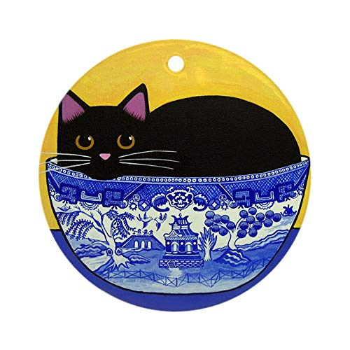 CafePress Black CAT Blue Willow Bowl Porcelain Ornament Round Holiday Christmas Ornament