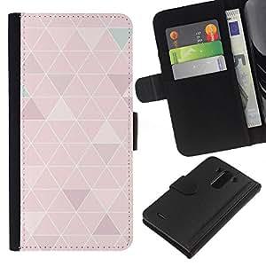 KLONGSHOP // Tirón de la caja Cartera de cuero con ranuras para tarjetas - líneas blancas polígono modelo del arte de durazno - LG G3 //