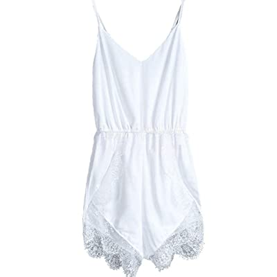 FACE N FACE Women's Lace Chiffon Sleeveless Jumpsuit Rompers: Clothing