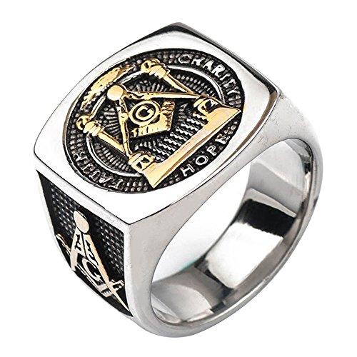(For Fox Mens Titanium Masonic Ring Square G & Pillars & All Seeing Eye Freemason Master Mason Gold Tone Size 12)