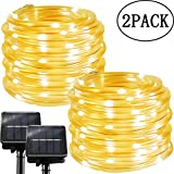 Solar String Lights Outdoor Rope Lights, 2 Pack 100 LED 8 Modes Waterproof Tube Light Copper Wire Fairy Lights for Garden Fence Patio Yard Summer Party Wedding Indoor Décor,Warm White