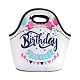 Semtomn Lunch Tote Bag Anniversary Modern Happy Birthday Clean Flat Balloon Birth Candle Reusable Neoprene Insulated Thermal Outdoor Picnic Lunchbox for Men Women