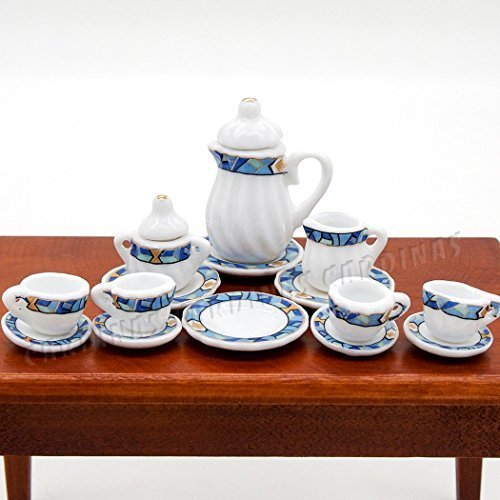 Odoria 1:12 15 pieces blue Mediterranean-style gold trim tableware tableware tea Cup set porcelain miniature dollhouse [parallel import goods] (Mediterranean Set Table)