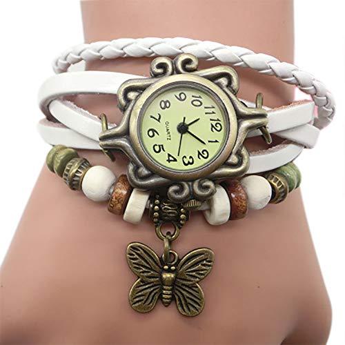 Pocciol Brown Retro Weave Wrap Lady Bead Butterfly Dangle Bracelet Bangle Quartz Wrist Watch (White) by Pocciol Cheap-Nice Watch (Image #1)