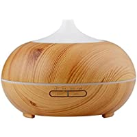 Wood Grain 300ml Cool Mist Humidifier Ultrasonic Aroma Essential Oil Diffuser for Office Home Bedroom Living Room Study Yoga Spa