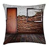 Ambesonne Antique Decor Throw Pillow Cushion Cover, Picture Frame Put On a Damaged Brick Wall in Aged Old Rustic Wooden Floor, Decorative Square Accent Pillow Case, 24 X 24 inches, Red and White