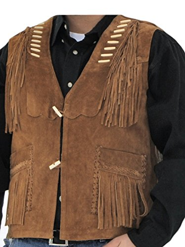 Classyak Men's Western Cowboy Fringed Suede Leather Vest Suede Brown -