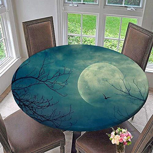 Simple Modern Round Table Cloth Decor Halloween with Full Moon in Sky and Dead Tree Branches Evil Haunted for Daily use, Wedding, Restaurant 35.5